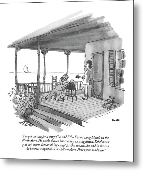 Marriage Metal Print featuring the drawing I've Got An Idea For A Story: Gus And Ethel Live by George Booth