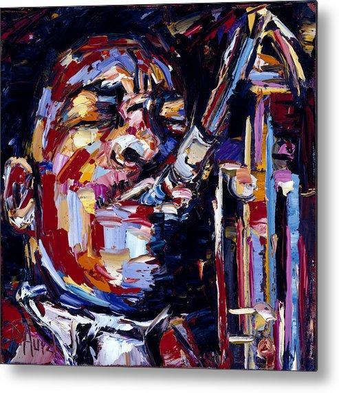 John Coltrane Metal Print featuring the painting Jazz Face series John Coltrane by Debra Hurd