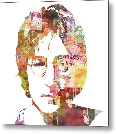 Beatles Metal Print featuring the painting John Lennon by Mike Maher