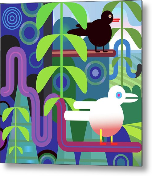Pets Metal Print featuring the digital art Jungle Vector Illustration With Birds by Charles Harker