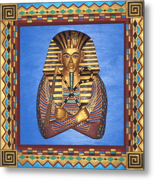 Sculpture Metal Print featuring the mixed media KING TUT - Handcarved by Michael Pasko