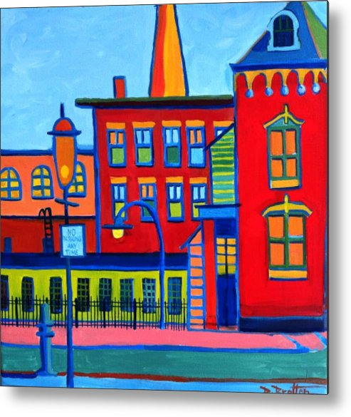 Landscape Metal Print featuring the painting Life Revolving in the City Lowell MA by Debra Bretton Robinson