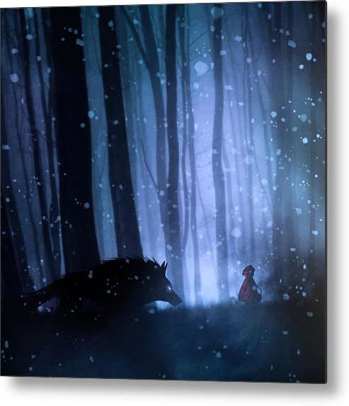 Loup Metal Print featuring the photograph Little Red Riding Hood by Sebastien Del Grosso