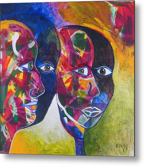 Faces Metal Print featuring the painting Living In The Shadows by Rollin Kocsis
