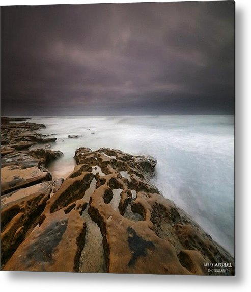 Metal Print featuring the photograph Long Exposure Sunset On A Dark Stormy by Larry Marshall