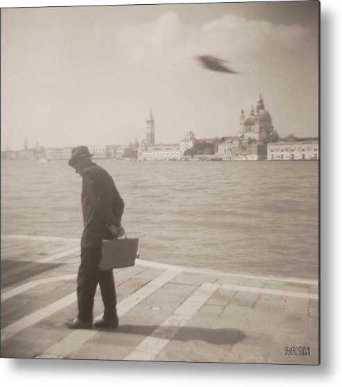 Sepia Metal Print featuring the photograph Man in Fedora with Bird by Beverly Brown