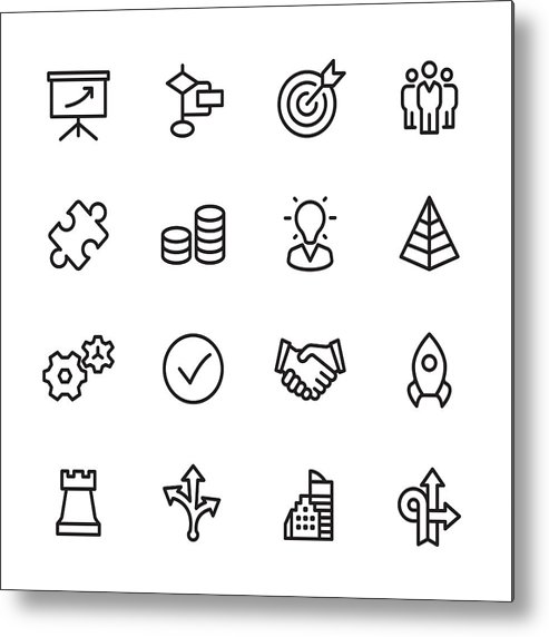 Coin Metal Print featuring the drawing Management - Outline Icon Set by Lushik