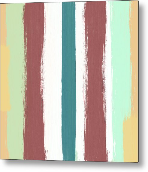 Marsala Stripe Abstract Pattern Painting Metal Print By Linda Woods