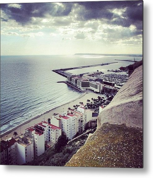 Lonely Metal Print featuring the photograph #mgmarts #spain #seaside #sea #view by Marianna Mills