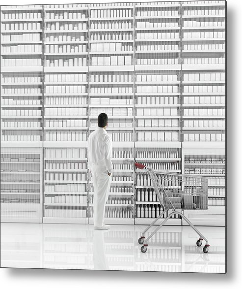 Internet Metal Print featuring the photograph Mixed Race Man Shopping On White by Colin Anderson Productions Pty Ltd