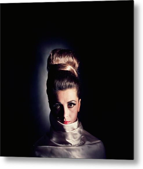 Studio Shot Metal Print featuring the photograph Model Wearing Hairpiece by Horst P. Horst