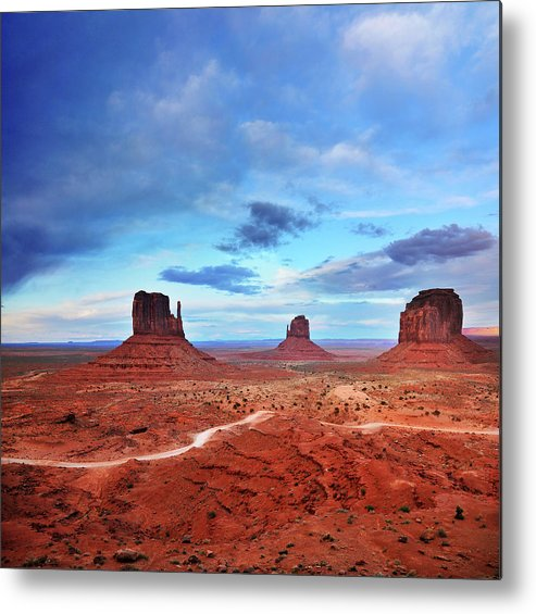Tranquility Metal Print featuring the photograph Monument Valley Cool Light After Sunset by Utah-based Photographer Ryan Houston