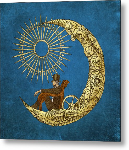 Blue Metal Print featuring the digital art Moon Travel by Eric Fan