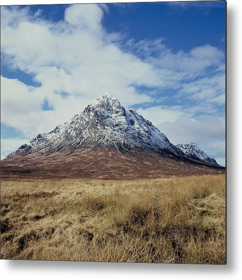 Scenics Metal Print featuring the photograph Mountain peak with clouds by Heidi Coppock-Beard