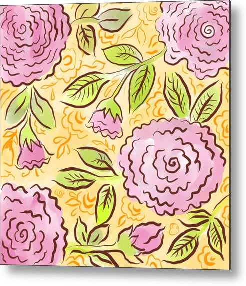 Pink Metal Print featuring the digital art Mums And Roses by Elaine Jackson