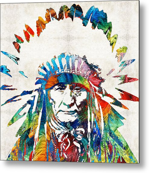 Native American Metal Print featuring the painting Native American Art - Chief - By Sharon Cummings by Sharon Cummings