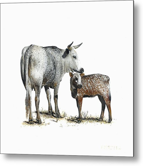 Nguni Metal Print featuring the painting Nguni Cow and Calf 2 by Edgar Pretorius