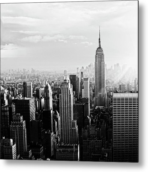 Lower Manhattan Metal Print featuring the photograph Nyc Skyline.black And White by Lisa-blue