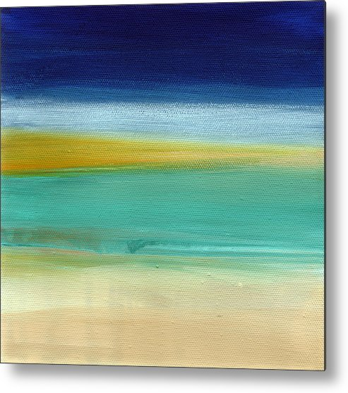 Abstract Metal Print featuring the painting Ocean Blue 3- Art by Linda Woods by Linda Woods