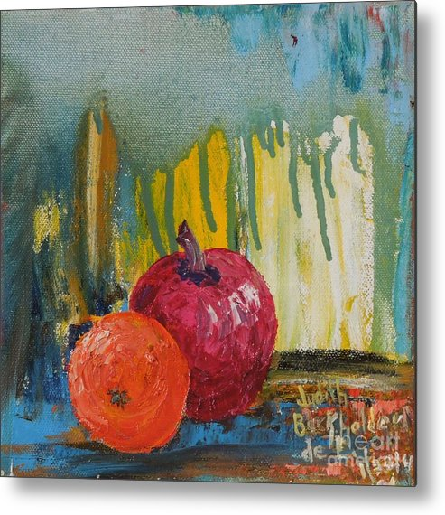 Fruit Metal Print featuring the painting Orange and Apple - SOLD by Judith Espinoza