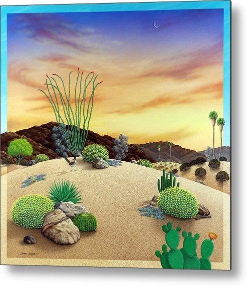 Desert Metal Print featuring the painting Orange Sky Sunset by Snake Jagger