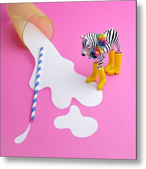 Milk Metal Print featuring the photograph Paper Craft Glass Of Spilled Milk With by Juj Winn