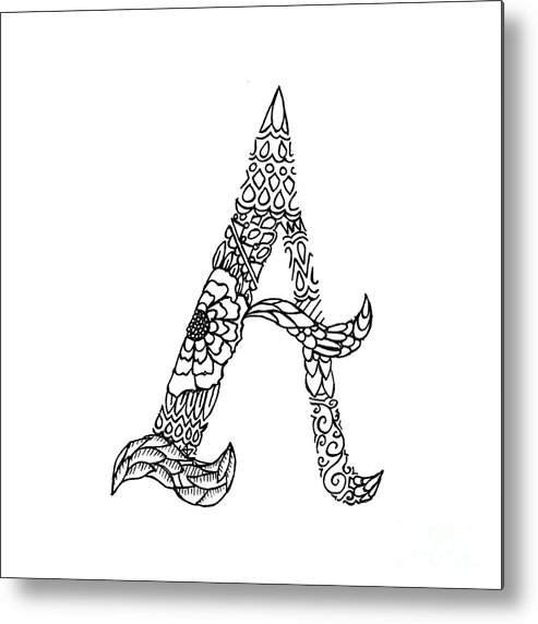 Pattern Metal Print featuring the drawing Patterned Letter A by Alyssa Zeldenrust