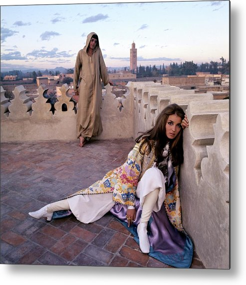 Fashion Metal Print featuring the photograph Paul Getty Jr And Talitha Getty On A Terrace by Patrick Lichfield