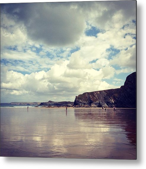 Mud Metal Print featuring the photograph People Walking On Wet Sand On Cloudy by Jodie Griggs