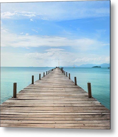 Scenics Metal Print featuring the photograph Pier On Koh Samui Island In Thailand by Pidjoe