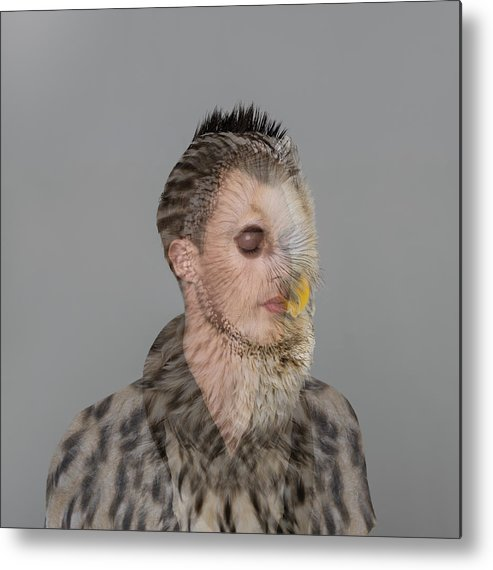 People Metal Print featuring the photograph Portrait Of Young Man With Owl Overlay by Nisian Hughes