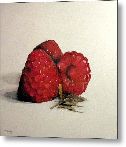 Raspberries Metal Print featuring the painting Raspberries by Tomas Castano