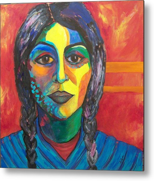 Color Metal Print featuring the painting Ready For The Dance by MtnWoman Silver