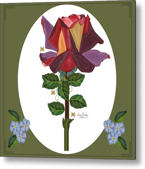 Rose Metal Print featuring the painting Rose of a Different Color by Anne Norskog