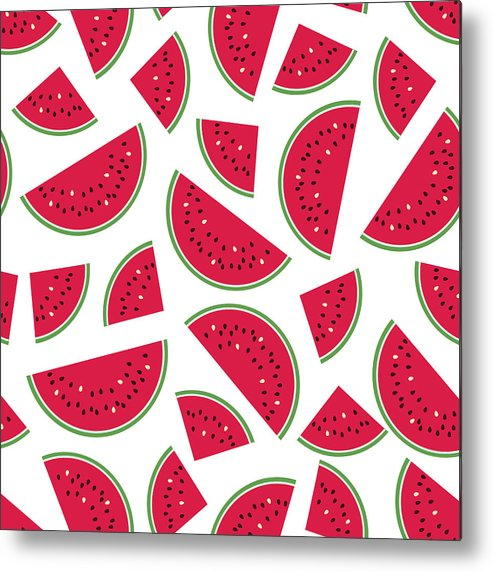 Art Metal Print featuring the digital art Seamless Colorful Pattern With Red by Ekaterina Bedoeva