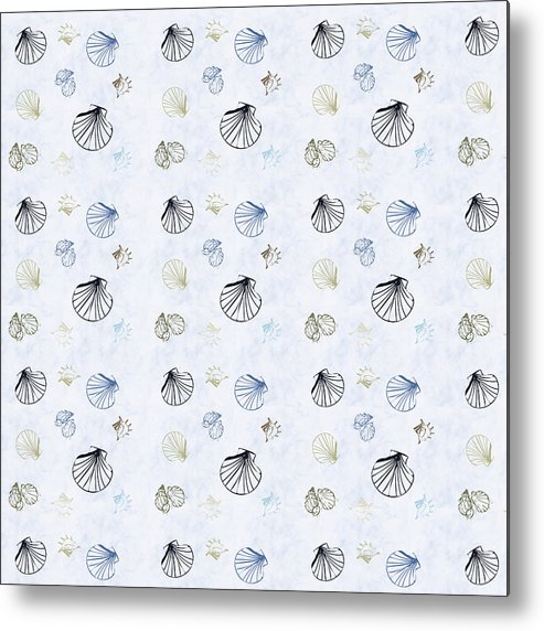 Seashell Metal Print featuring the mixed media Seashell Pattern by Christina Rollo