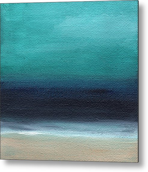 Beach Metal Print featuring the painting Serenity- Abstract Landscape by Linda Woods