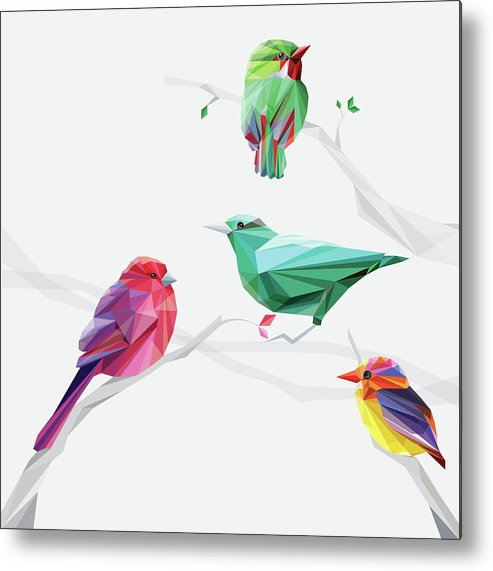 Funky Metal Print featuring the digital art Set Of Abstract Geometric Colorful Birds by Pika111