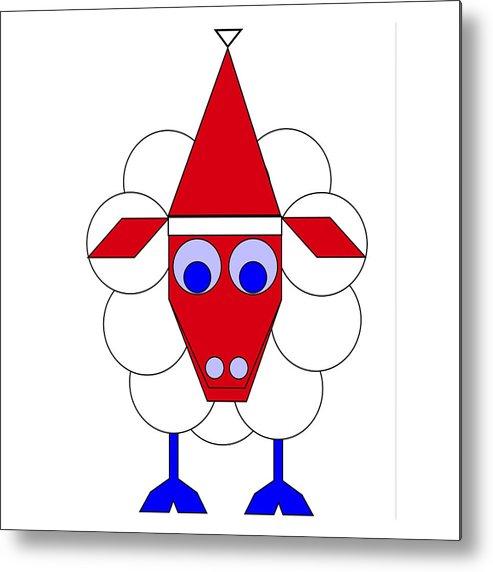 Sleep Sheep Wishes You A Merry Christmas Metal Print featuring the digital art Sleep Sheep wishes you a Merry Christmas by Asbjorn Lonvig