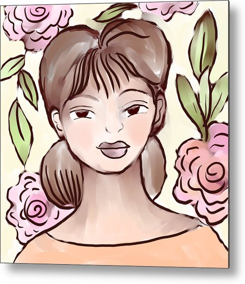 Figurative Metal Print featuring the digital art Soft Smile by Elaine Jackson