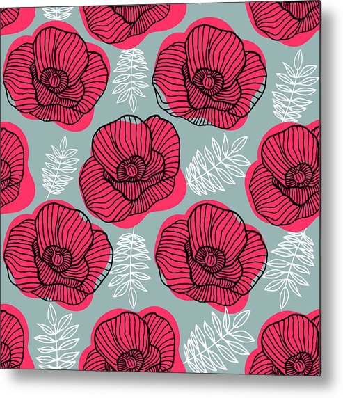 Flowerbed Metal Print featuring the digital art Spring Bright Seamless Floral Pattern by Ekaterina Bedoeva