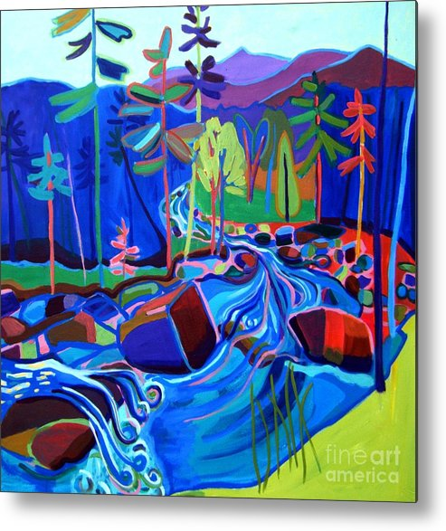 Landscape Metal Print featuring the painting Spring Thaw Wildcat River Jackson NH by Debra Bretton Robinson