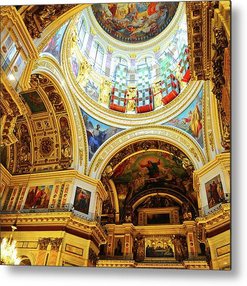Ceiling Metal Print featuring the photograph St. Isaacs Cathedral by Loveguli