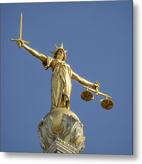 Punishment Metal Print featuring the photograph Statue of Lady Justice by Georgeclerk