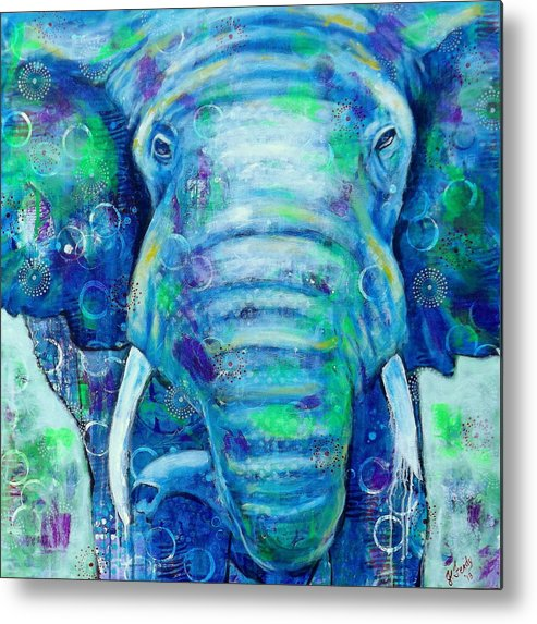 Elephant Prints Metal Print featuring the painting Strength From Within by Goddess Rockstar