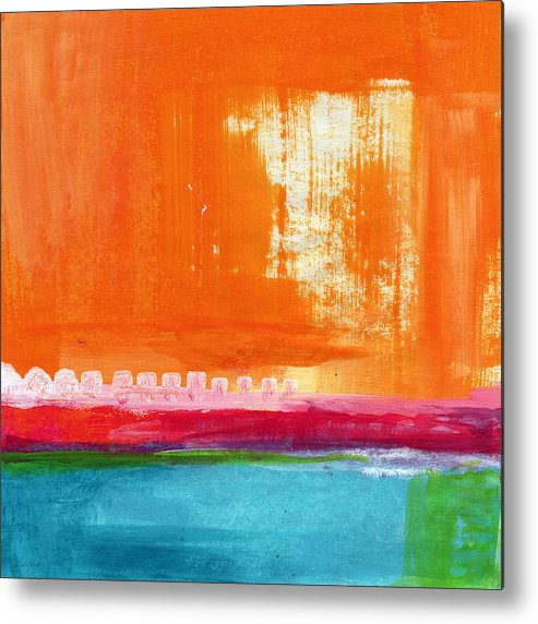 Orange Abstract Art Metal Print featuring the painting Summer Picnic- colorful abstract art by Linda Woods