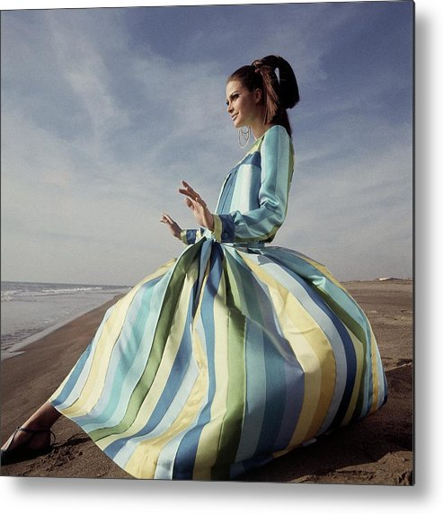 Fashion Metal Print featuring the photograph Editha Dussler Posing On A Beach by Henry Clarke