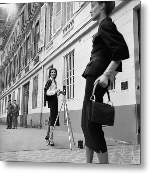 Fashion Metal Print featuring the photograph Suzy Parker Photographing A Model In Front by Jacques Boucher