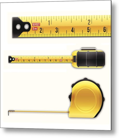 Working Metal Print featuring the drawing Tape Measure by Filo