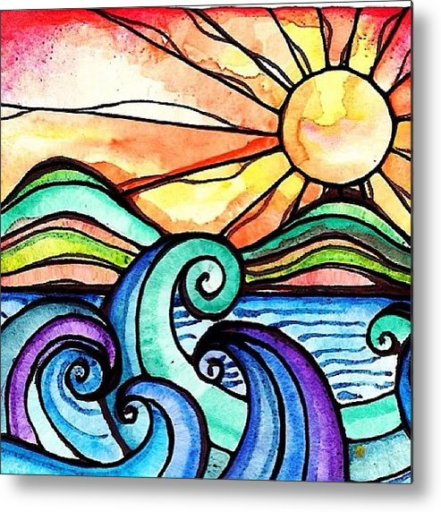 Art Metal Print featuring the photograph Tequila Sunrise #aceo #artcard #art by Robin Mead